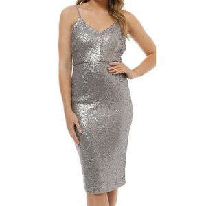 Cooper St silver midi sequin cocktail formal Dress
